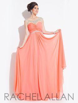 Style 6903 Rachel Allan Orange Size 10 Cap Sleeve Sheer Tulle Sequin A-line Dress on Queenly