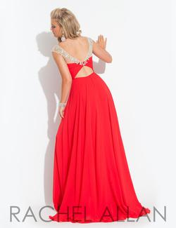 Style 6903 Rachel Allan Red Size 6 Cap Sleeve Sheer Tulle Sequin A-line Dress on Queenly