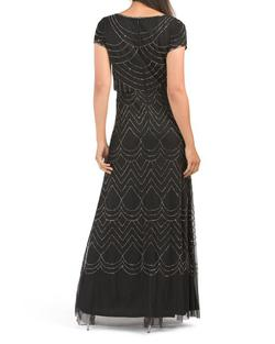 Adrianna Papell Black Size 6 Prom Cap Sleeve Sheer A-line Dress on Queenly