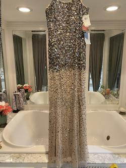 Adrianna Papell Silver Size 4 Jewelled Sequin Straight Dress on Queenly