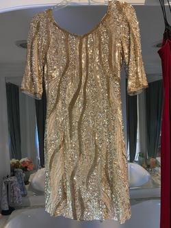 Adrianna Papell Red Carpet Collection Gold Size 4 Fitted Sequin Cocktail Dress on Queenly