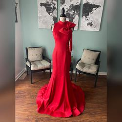 Jovani Red Size 0 Train High Neck Mermaid Dress on Queenly