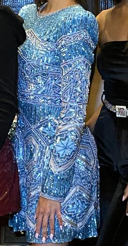 Sherri Hill Blue Size 0 Embroidery Cocktail Dress on Queenly