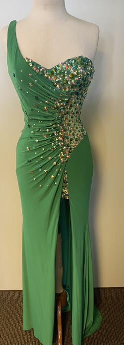 Party Time Formal Green Size 6 Pageant Sequin Train Straight Dress on Queenly