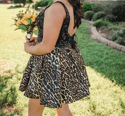Sherri Hill Black Size 14 Animal Print Plunge Cocktail Dress on Queenly