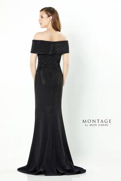 Mon Cherie Black Size 8 V Neck Fitted Train Flare Straight Dress on Queenly