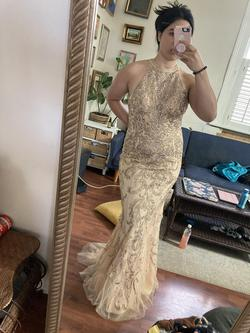 Mori Lee Gold Size 10 Keyhole Halter Mermaid Dress on Queenly