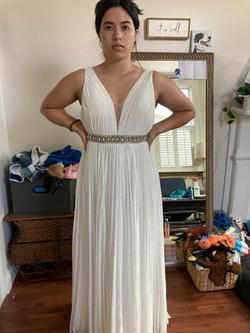 Sherri Hill White Size 6 Belt V Neck A-line Dress on Queenly