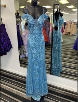Custom with and added cape not shown in the picture. Blue Size 6 Lace Shiny Sheer A-line Dress on Queenly