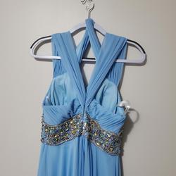 Jovani  Blue Size 10 Cap Sleeve V Neck Halter A-line Dress on Queenly