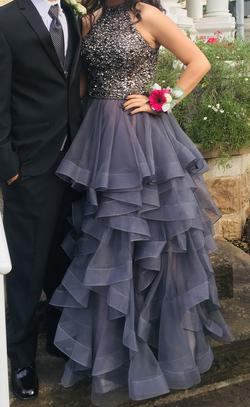 Sherri Hill Silver Size 10 Beaded Top Ruffles Halter Ball gown on Queenly