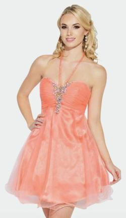 Style E40043 Josh and Jazz Prom Pink Size 6 Sweetheart Tulle Halter Cocktail Dress on Queenly
