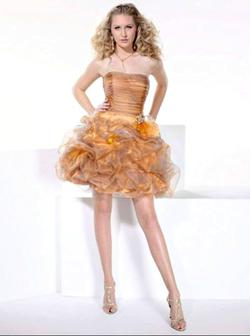 Style 27664 Hannah S Gold Size 6 Homecoming Ruffles Cocktail Dress on Queenly