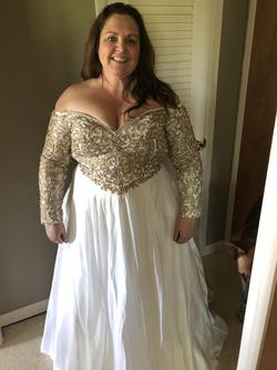 Johnathan Kayne White Size 16 Wedding Sweetheart Ball gown on Queenly