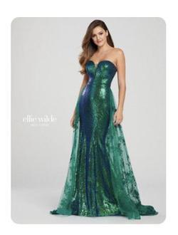 Ellie Wilde Green Size 4 Sequin Tulle Train Mermaid Dress on Queenly