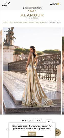Alamour Gold Size 2 Prom Cape Straight Dress on Queenly