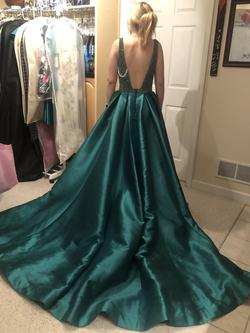 MaDuggal Green Size 6 Emerald V Neck Showstopper Ball gown on Queenly