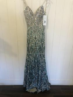 Jovani Multicolor Size 6 Nude V Neck A-line Dress on Queenly