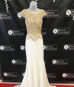 Macduggal White Size 2 Jersey Gold Straight Dress on Queenly