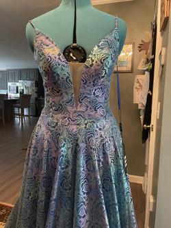 Johnathan Kayne Blue Size 6 Pockets Purple Tulle Plunge A-line Dress on Queenly