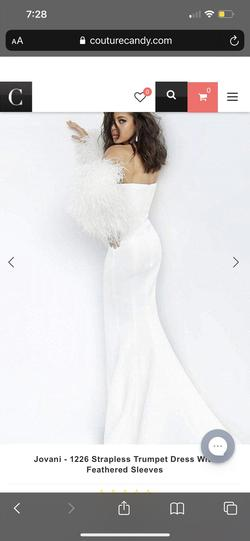 Jovani White Size 6 Wedding Straight Dress on Queenly