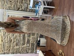 Sherri Hill Gold Size 2 Sheer Sequin Train One Shoulder Side slit Dress on Queenly