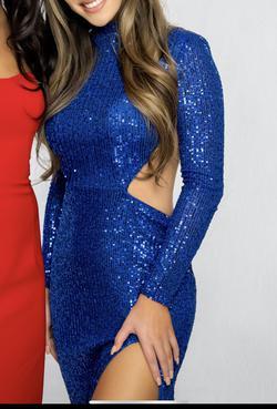 La femme Blue Size 00 Prom Pageant Sequin Side slit Dress on Queenly