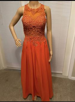 Custom Orange Size 2 Pageant Tulle Straight Dress on Queenly