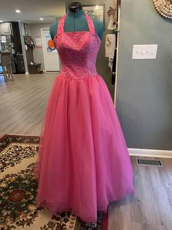 Alyce Pink Size 4 Sweet Sixteen Tulle Halter Ball gown on Queenly