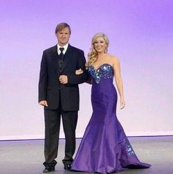 MacDuggal Purple Size 10 Sequin Train Mermaid Dress on Queenly