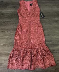 Nicole Miller Pink Size 4 Rose Gold Plunge Flare Halter Mermaid Dress on Queenly