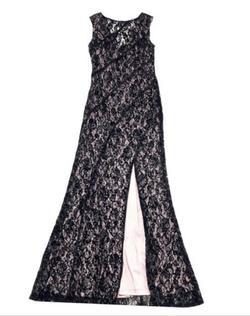 Aidan Mattox Black Size 8 Nude Sorority Formal Cap Sleeve Halter Straight Dress on Queenly