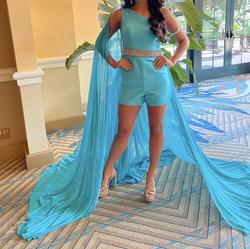 Jovani Blue Size 4 Sequin Train Fun Fashion Halter Jumpsuit Dress on Queenly