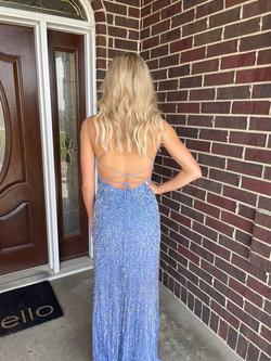 Sherri Hill Blue Size 00 Prom Pageant V Neck Spaghetti Strap Straight Dress on Queenly