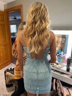 Sherri Hill Blue Size 0 Sorority Formal V Neck Spaghetti Strap Cocktail Dress on Queenly
