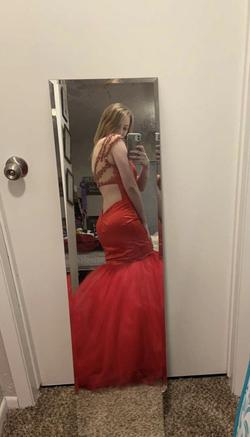 Sherri Hill Red Size 4 Nude Sheer Mermaid Dress on Queenly