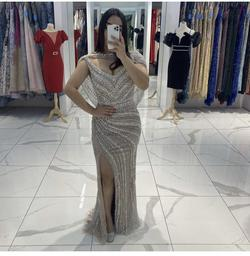 Silver Size 10 Side slit Dress on Queenly