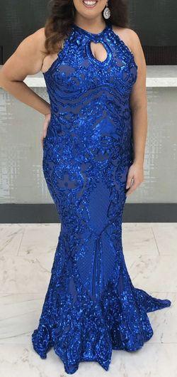 Debbie Carol Blue Size 16 Custom Mermaid Dress on Queenly