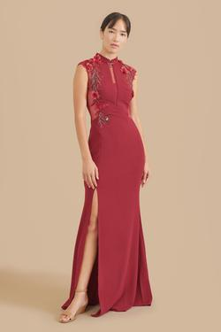 Style marilyn East Meets Dress Red Size 12 Sheer Plunge Side slit Dress on Queenly