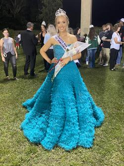 Sherri Hill Green Size 6 Pageant Ruffles Ball gown on Queenly