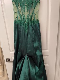 Mori Lee Green Size 12 Sheer Pageant Mermaid Dress on Queenly