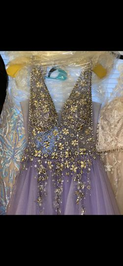 Jovani Purple Size 8 Sheer Tulle Sequin Halter Ball gown on Queenly