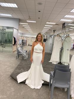 Vera Wang White Size 8 Sheer Train Halter Mermaid Dress on Queenly