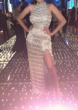 Style 52399 Sherri Hill Gold Size 4 Two Piece Ball gown on Queenly