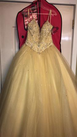 Morilee Yellow Size 6 Plunge Tulle Sequin Spaghetti Strap Ball gown on Queenly