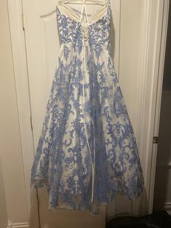 Sherri Hill Blue Size 16 Nude Plunge Ball gown on Queenly