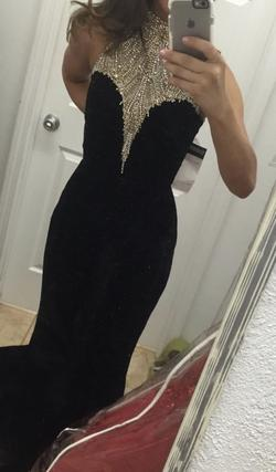 Sherri Hill Black Size 2 Sheer Train Halter Mermaid Dress on Queenly