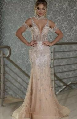ShinyDressesFashion Nude Size 12 Sheer Tulle Plunge Mermaid Dress on Queenly