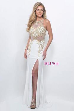 Blush Prom  White Size 4 Sheer Halter Side slit Dress on Queenly