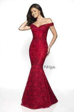 Style 425 Blush Prom  Red Size 10 Plunge Mermaid Dress on Queenly